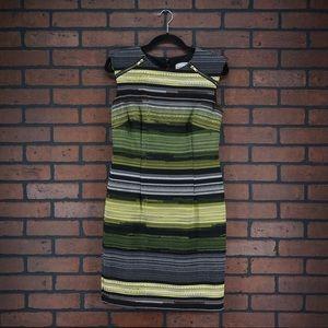 KARIN STEVENS Green Yellow Striped Sheath Dress 6